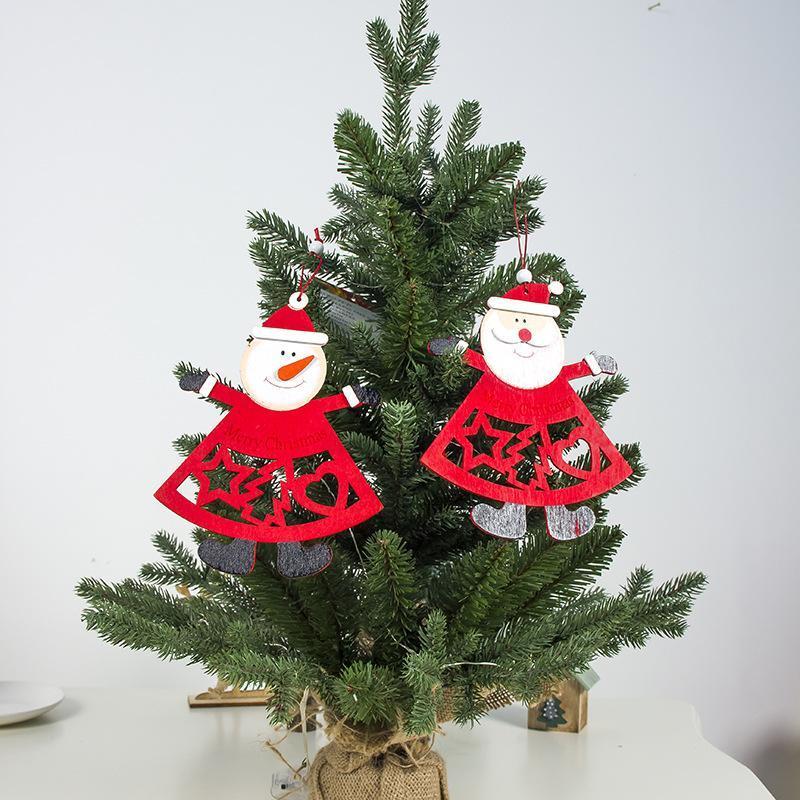Año nuevo DIY Árbol de Navidad Colgante Navidad Colgante Decoración de Navidad Carta Impresión ahuecando Santa Muñeco de nieve Madera