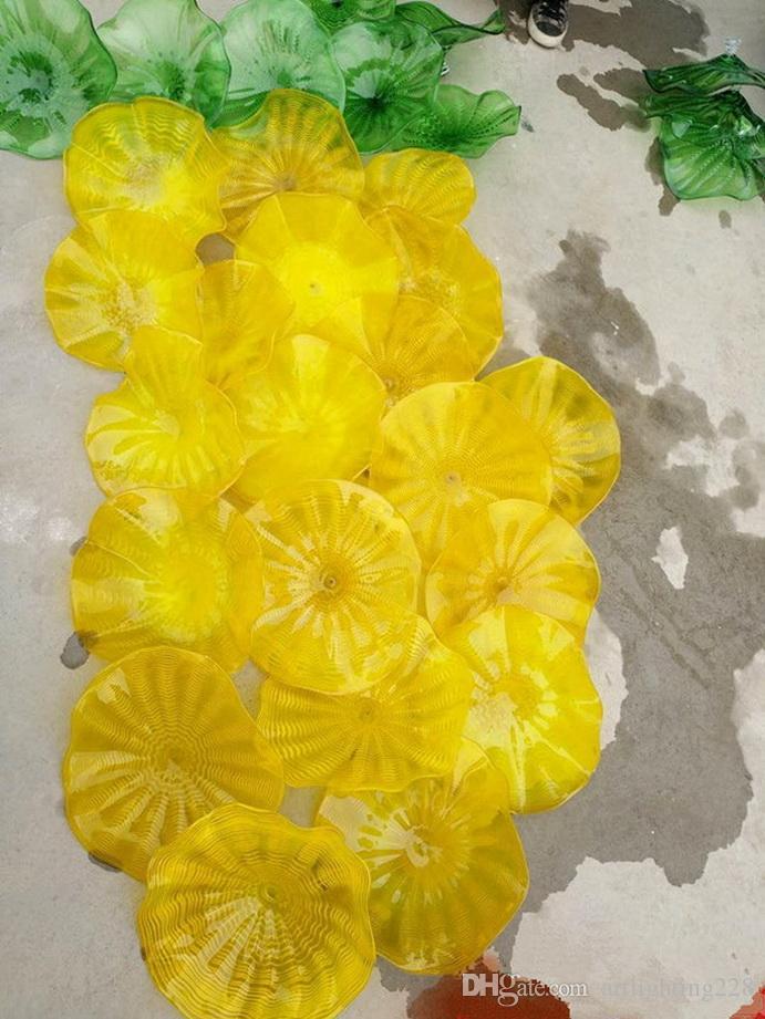 Moda Mão 100% Fundido Lareira Decoração Wall Flower Art Chihuly Estilo Mounth Blown placas de vidro murano