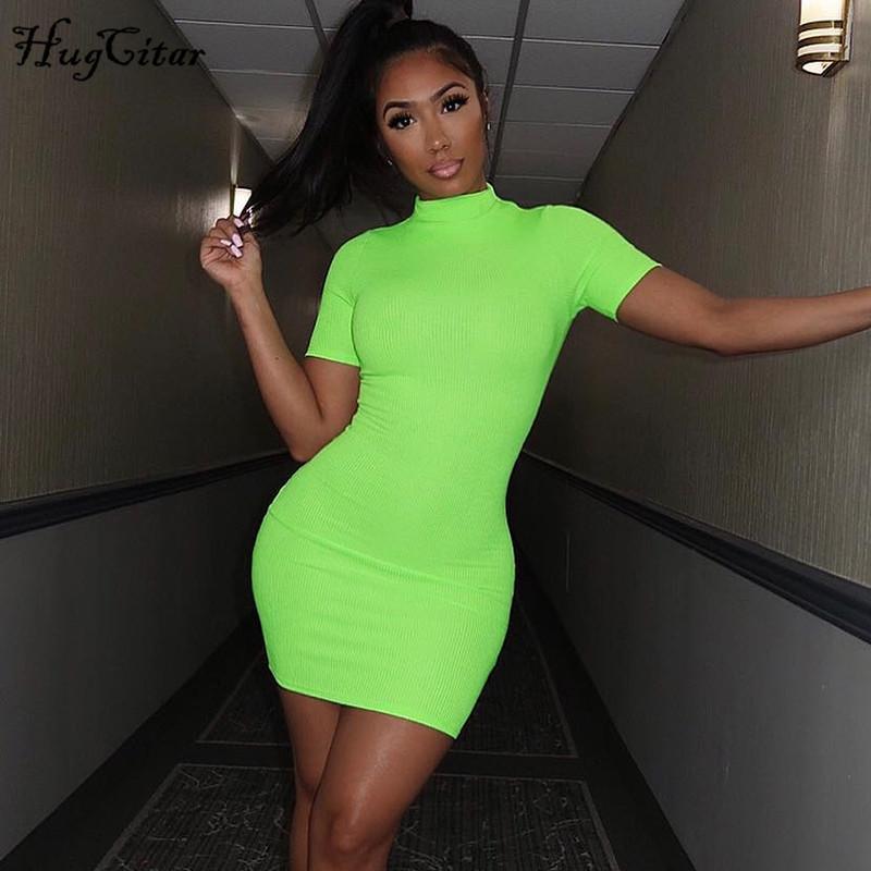 Hugcitar Neon Green Orange Solid High Neck manica corta Abiti a vita alta 2019 Summer Women Elastico Casual Streetwear Party Cl Y19050805