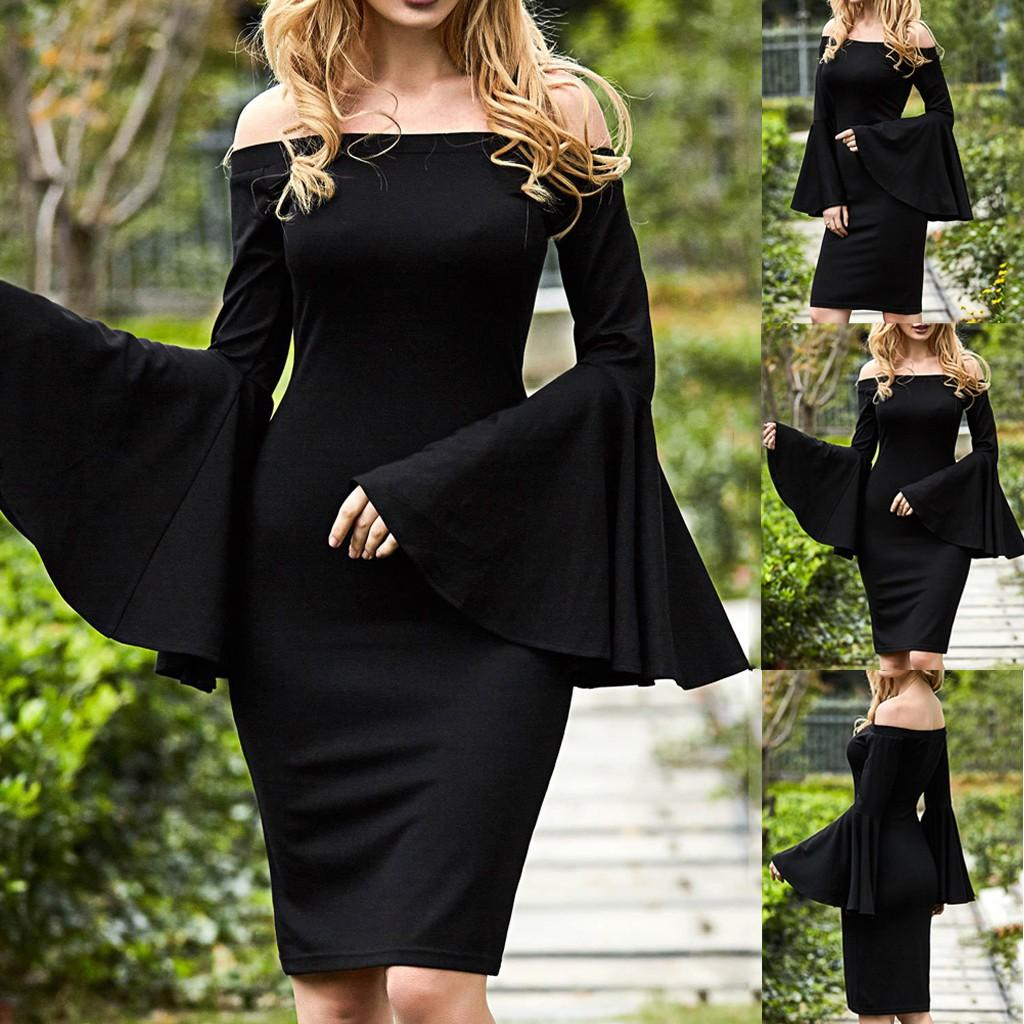 2019 nuova moda primavera sexy donne sexy delle signore di modo manica lunga flare vestito di lunghezza del ginocchio casuale di colore solido per la femmina # 30