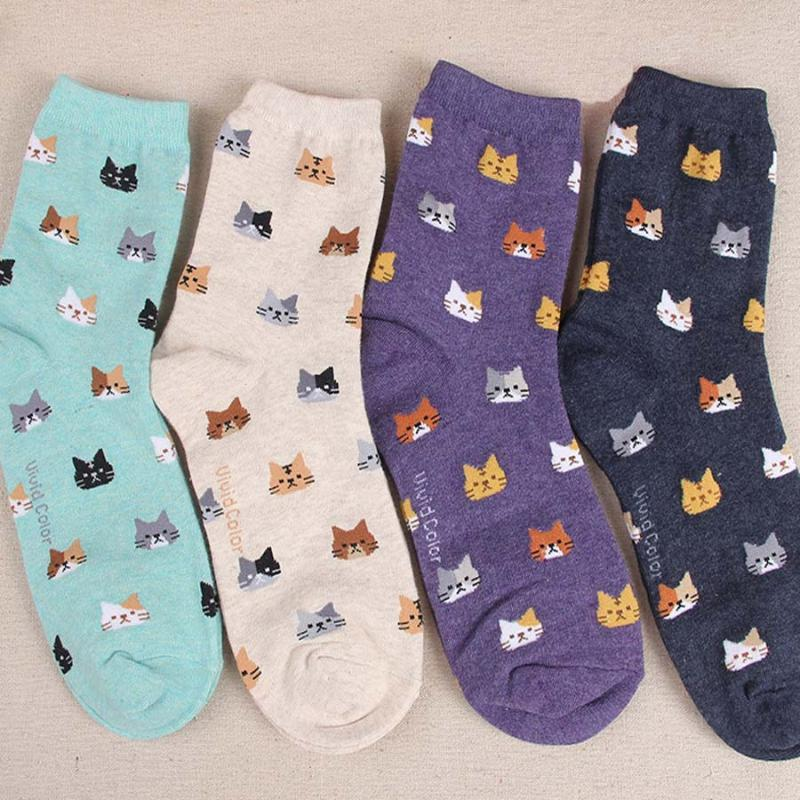 Jeseca 2019 Sonbahar Kadın Çorap Cartoon Hayvan Sevimli Kedi Çorap Kız Kış Kalın Bayanlar Noel Hediyeler için Pamuk Sock Isınma