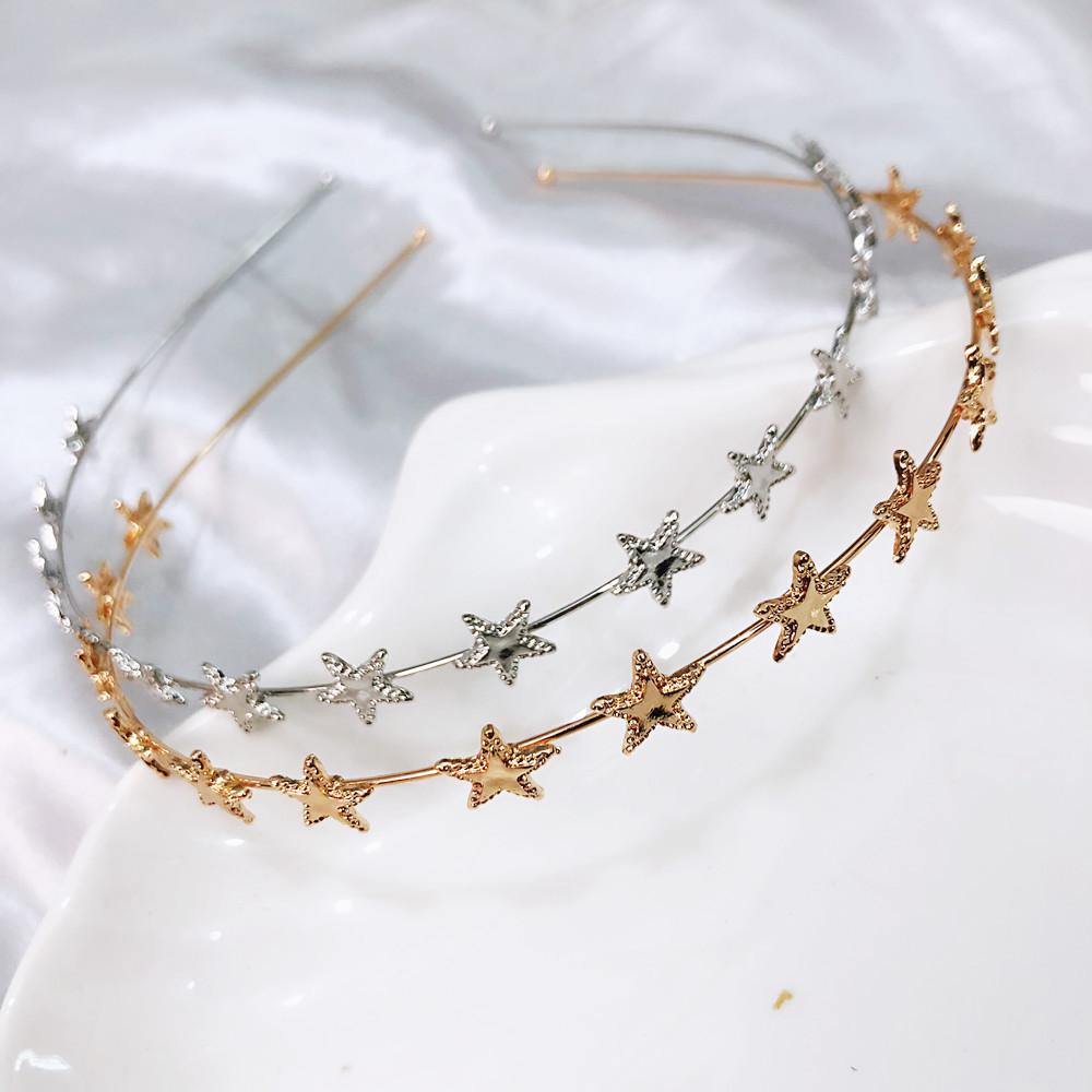 2019 Nuove donne di moda Oro argento Metallo Pentagramma Stella Fasce per capelli Fasce sottili geometriche Elegante copricapo per la festa quotidiana