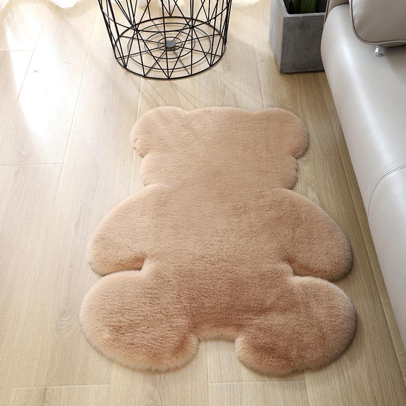 الدب البساط لينة عظمى السجاد الحرير داخلي الحديثة غرفة المعيشة غرفة نوم البساط عدم الانزلاق 60CM لينة * 80CM حصيرة الأطفال البني الرمادي