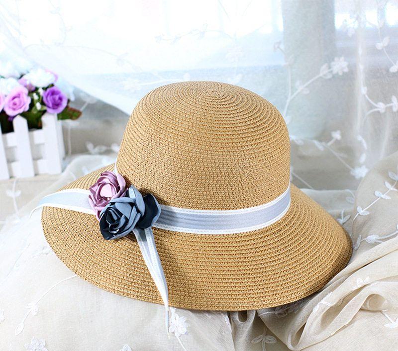 Tide Flower Straw Sun Hat alta qualidade Anti-UV Holiday Beach Chapéus Womens Ampla Brim Chapéus Tide 6 cores Pescador Chapéus