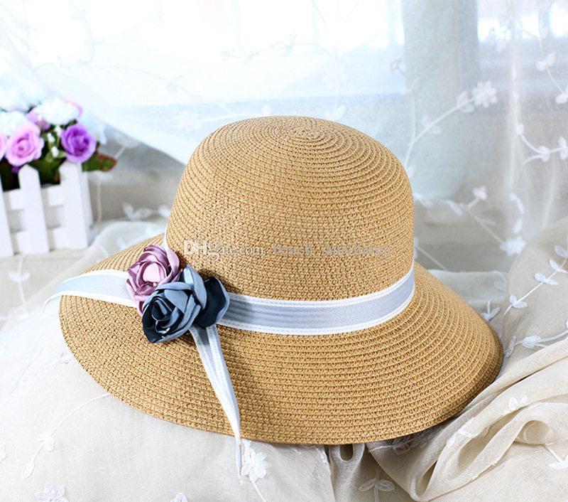 Tide Flor Palha Palha Chapéu de Alta Qualidade Anti-UV Feriado Beach Chapéus Mulheres Brim Grandes Brim Chapéus Tide 6 Cores Pescador Chapéus