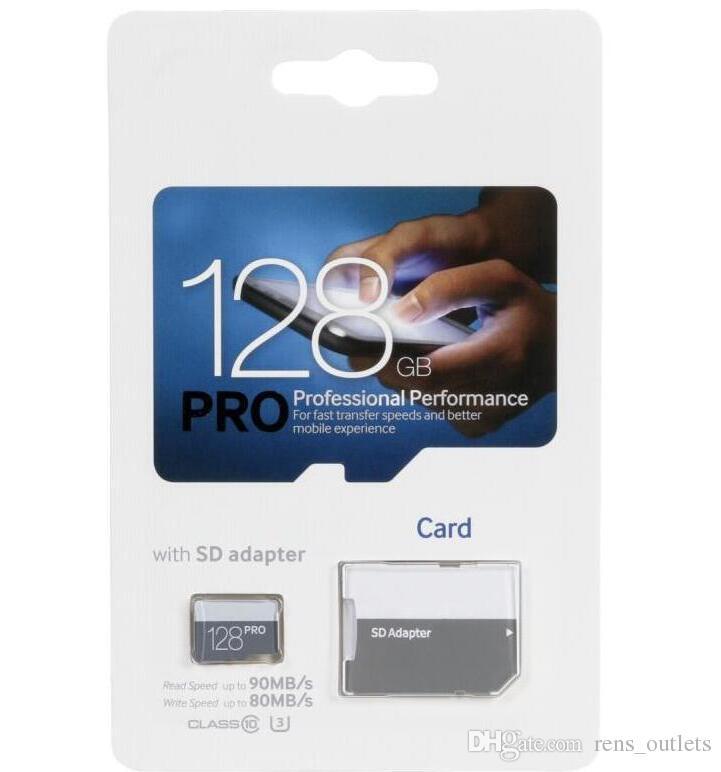 2019 Vendita calda Blue PRO Classe 10 256 GB 64 GB 32 GB 128 GB Flash TF Scheda di memoria Scheda C10 Adattatore PRO PLUS Classe 10 100 mb / s