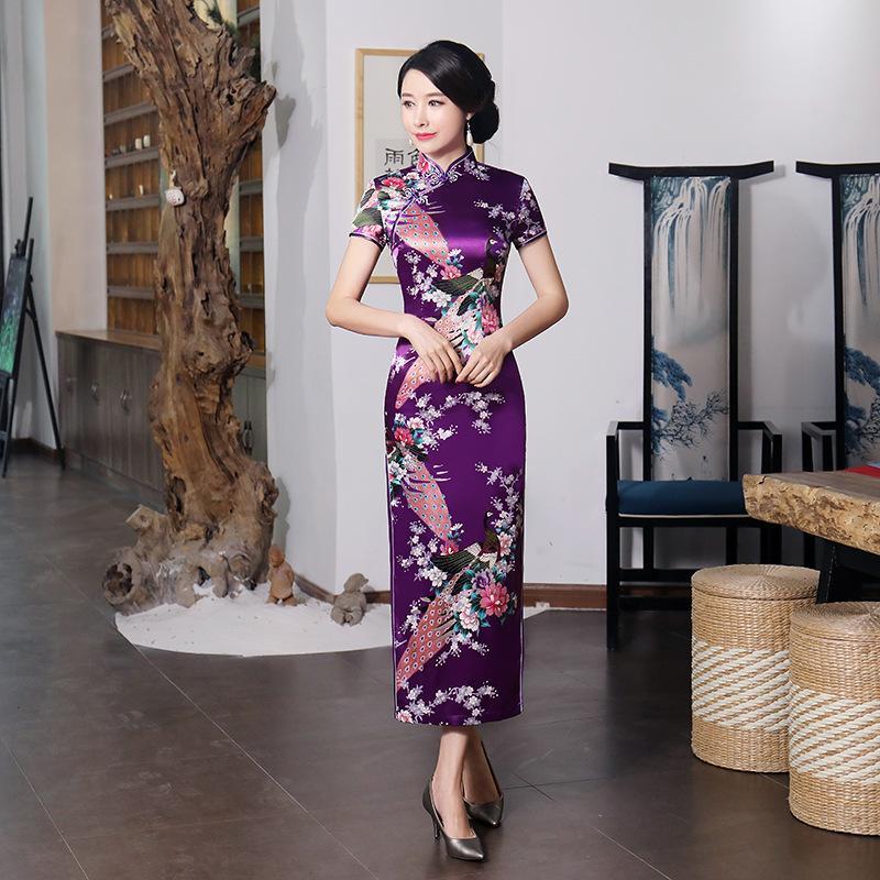 새로운 도착 퍼플 중국 여성 드레스 새틴 Qipao 섹시한 긴 치파오 여름 플러스 사이즈 4XL 5XL 6XL 꽃 빈티지 Qipao