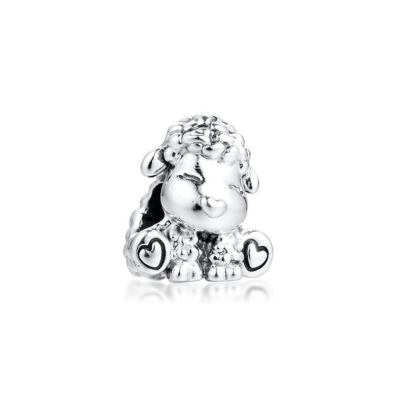 Nouveau 100% réel Argent 925 Perles Belle Patti animal Le Mouton charme Perles Fit Femmes Charm Europe Marque cadeau Bracelet Bijoux Diy