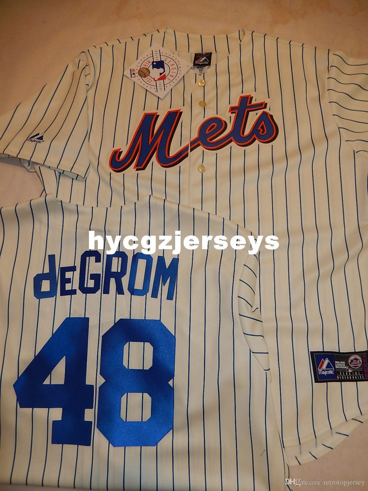 baseball pas cher Hommes Top NY # 48 Jacob deGrom chemise JERSEY CRÈME NOUVEAU Mens cousu jerseys Big and Tall TAILLE XS-6XL A vendre