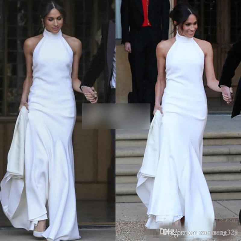 2020 White Mermaid Wedding Dresses Prince Harry Meghan Markle Wedding party Gowns Halter Soft Satin Wedding Recept Dress