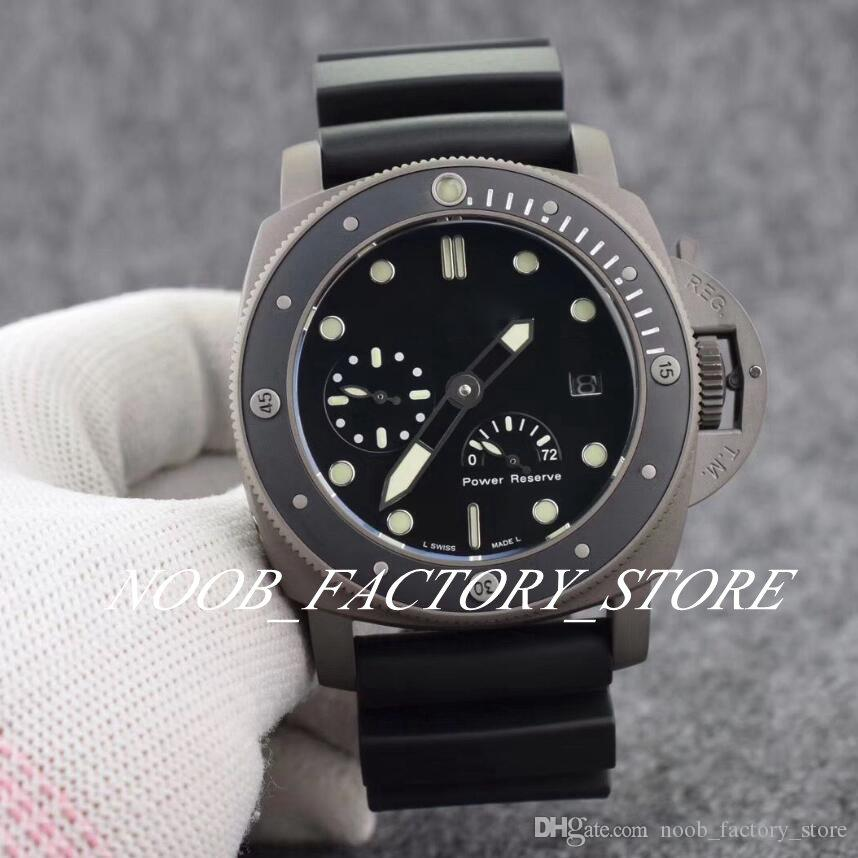 Luxury Black Classic PAM Power Reserve Automatik-Uhrwerk 47mm-Mann-Uhr Rotating Keramik-Lünette schwarze Kautschukband Tauchherrenuhr