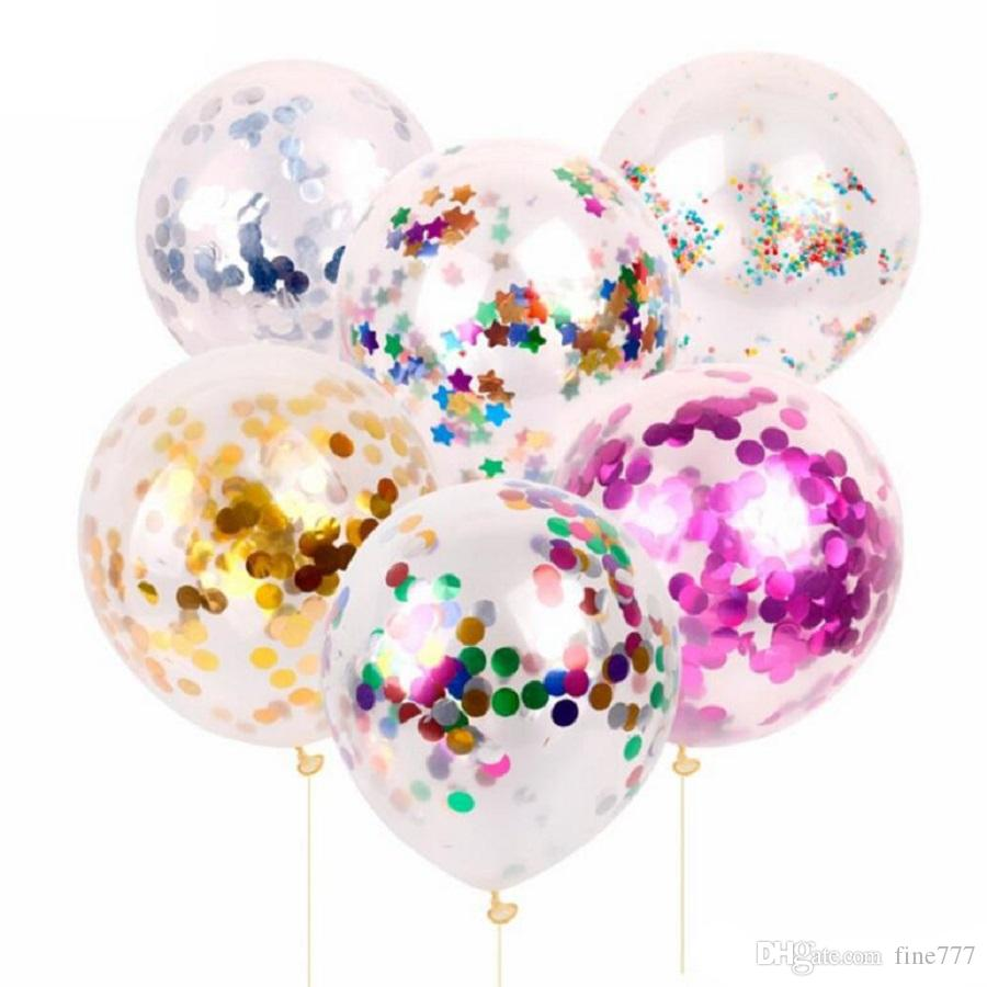 Nova moda Multicolor látex Lantejoulas Filled Limpar Balões novidade Crianças Brinquedos Decorações do casamento bonito da festa de anos