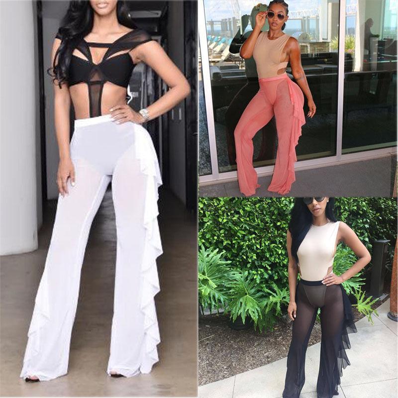 섹시한 패션 여름 새로 여름 여성 여성 전체 길이 솔리드 프릴이 탄성 허리 높은 허리 슬림 다리 와이드 팬츠 3 스타일
