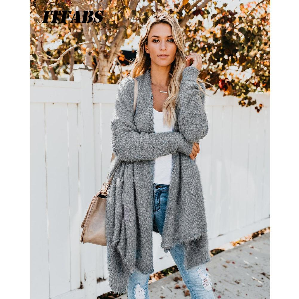 2019 Mode UK Womens Winter Baggy Strickjacke Mantel Top Chunky Strick Oversized Pullover Pullover