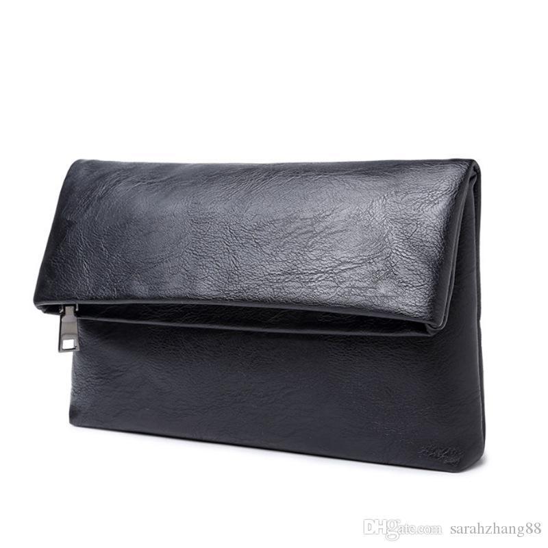 Men's Genuine Leather Clutch Business Folding Bag Hand Caught Handbag Business Black Organizer Wallet