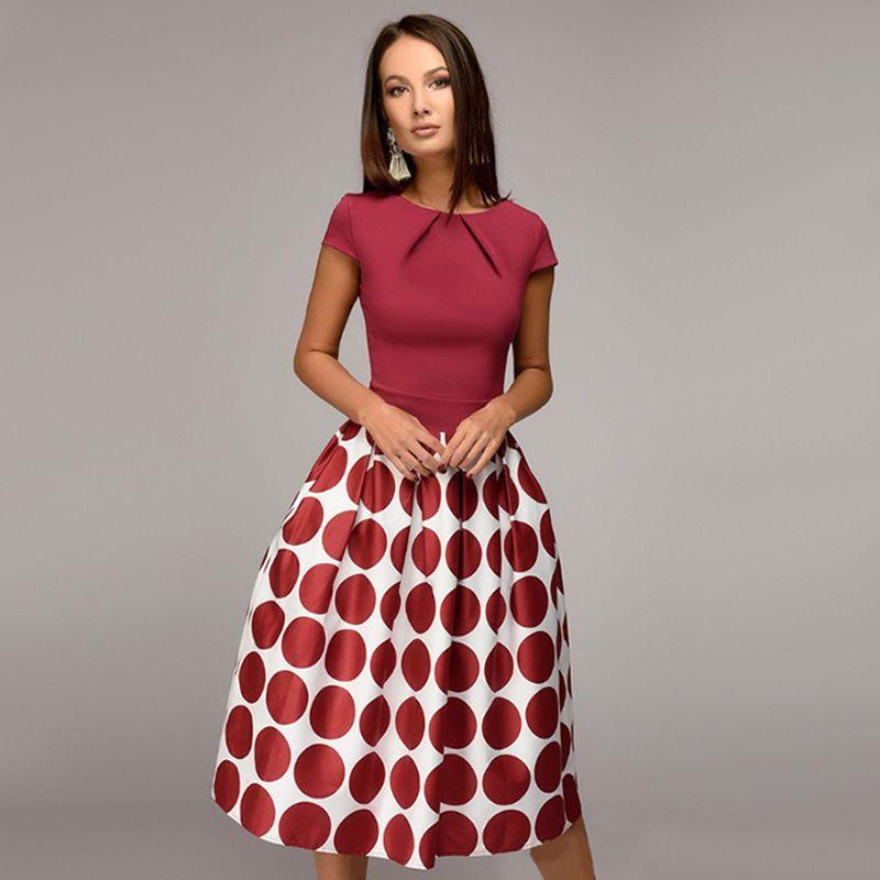 de las mujeres de la vendimia Polka Dot plisado Midi Vestidos Vestido elegante casual del partido del vestido del vestido del verano de la corto manga una línea de