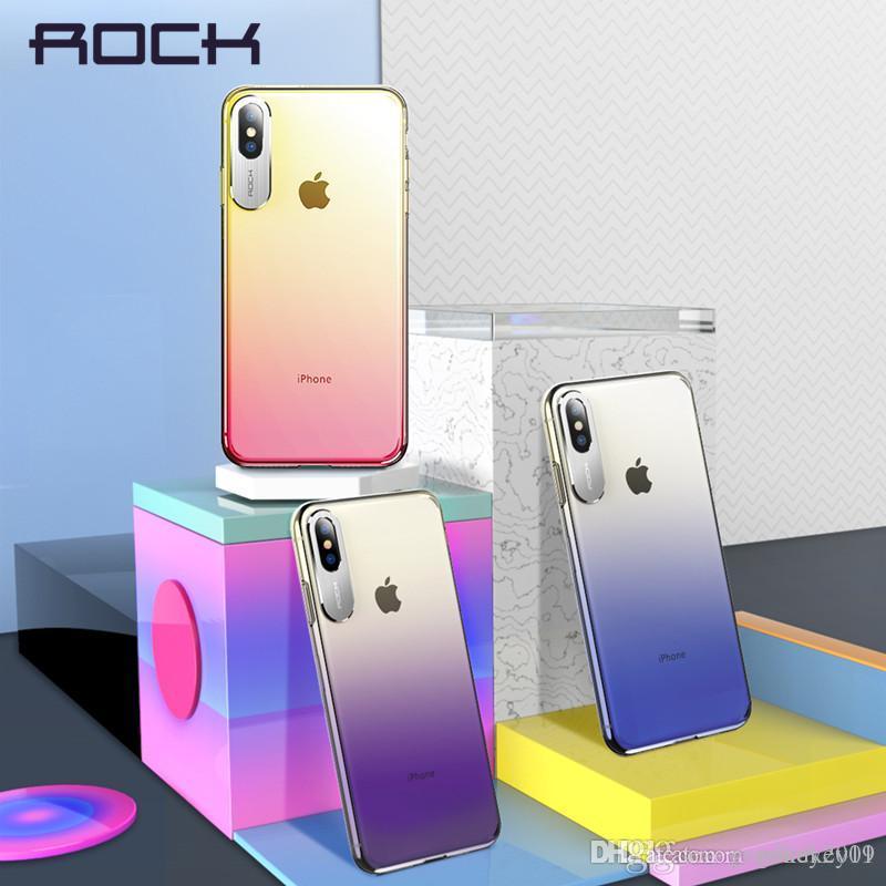 Para la caja transparente Estilo de visita del metal de Protección de la cámara del teléfono iPhone Xs Xr Xs Max lujo de la roca para el iPhone 2018