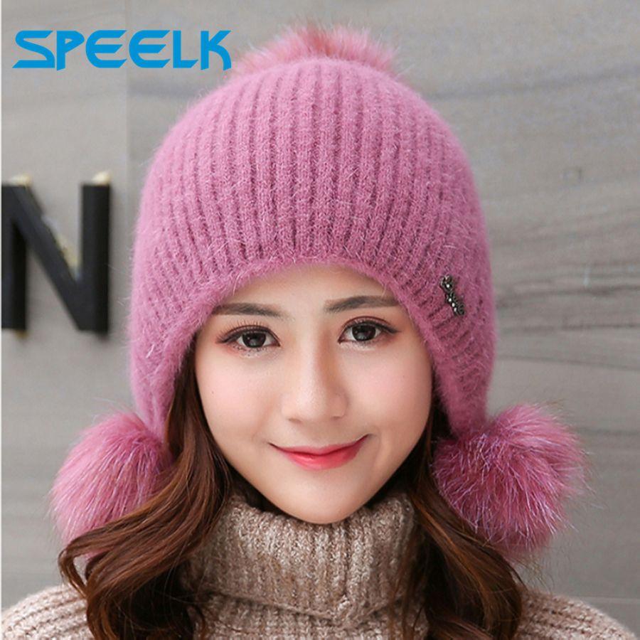 Rabbit Plush Hats Women Winter Fashion Beanies Sweet Cute Hedging Cap Velvet Wool Hat Student Hair Ball Caps Warm Knit Hat Y200103