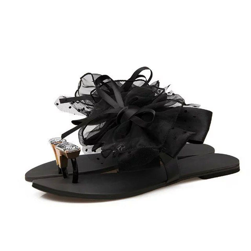 Flat Bottom Flower Ladies Hot New Fashion Sandals Summer Korean Black Lace Toe Slippers Large Size jooyoo