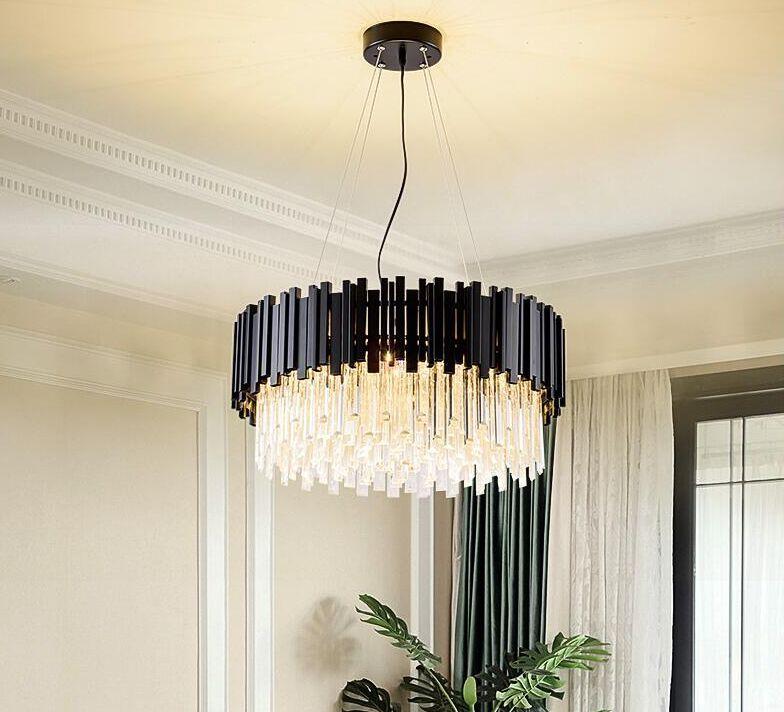 Современная стильная хрустальная люстра черные круглые светодиодные подвесные светильники для гостиной спальня освещение для виллы гостиная столовая ресторан