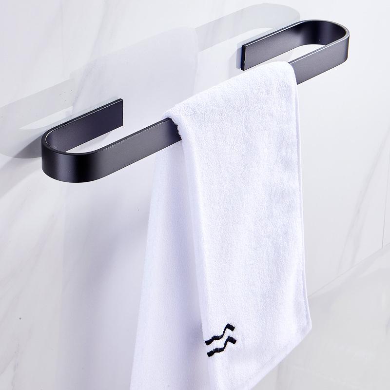 Настенная вешалка для полотенец Держатель для ванной кухни Органайзер стеллаж для хранения висячие аксессуары Space Black Silver Нет Сверление