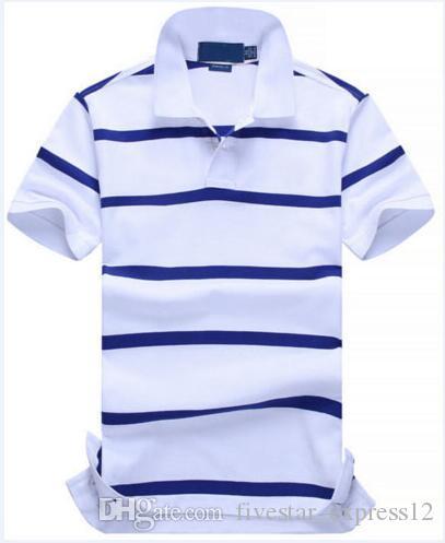 Venta caliente Nuevos Hombres Rayado Polo Camisa 100% Algodón Moda Camisa Polos americanos Pequeño Caballo Pequeño Caballo Alta Calidad Primavera Casual Camisetas Casual Blanco