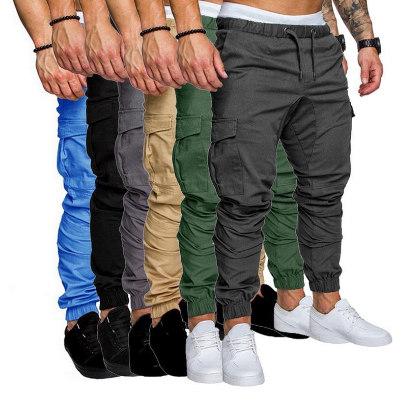 Hip Hop corredores Pantalones 2019 bolsillos ocasionales de los hombres pantalones de camuflaje pantalones para hombre otoño multicolor pantalón Moda Trajes