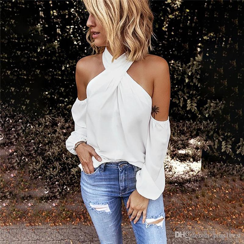 Sólido Designer Womens Cor camisetas Halter Collar Strapless Womens Sexy Tops Casual Fino da forma das mulheres t-shirts