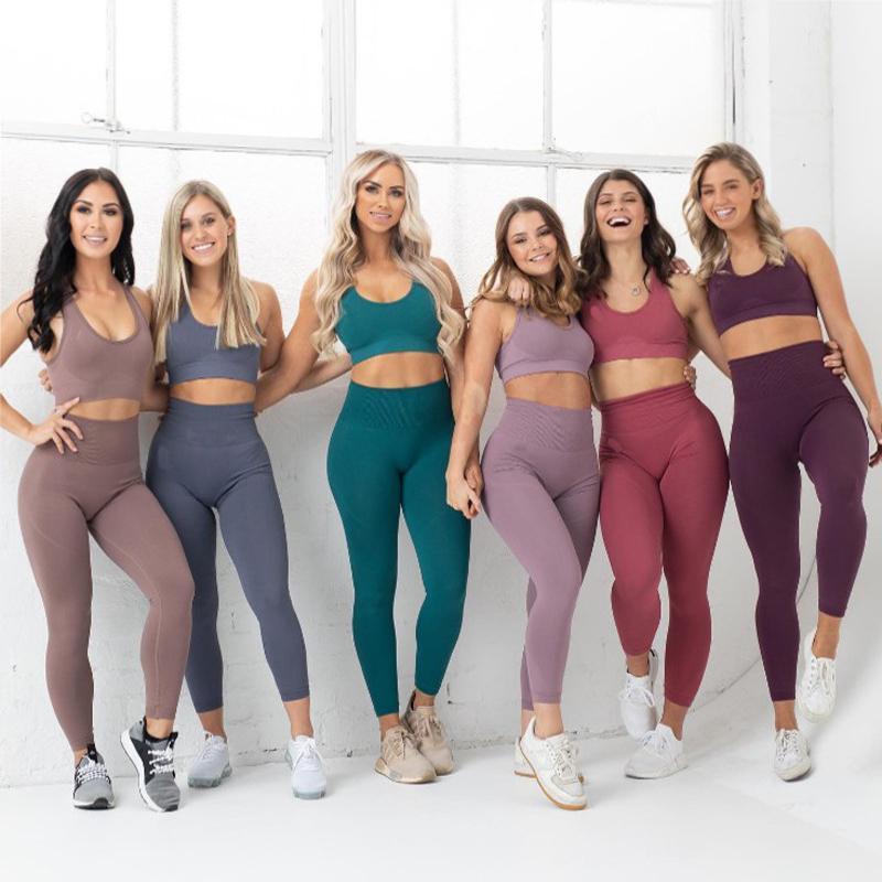 2PCS سلس اليوغا تعيين المرأة تجريب ملابس رياضية النايلون رياضة بممارسة الرياضة البدلة المرأة للياقة البدنية الملابس البرازيلي اللباس فام