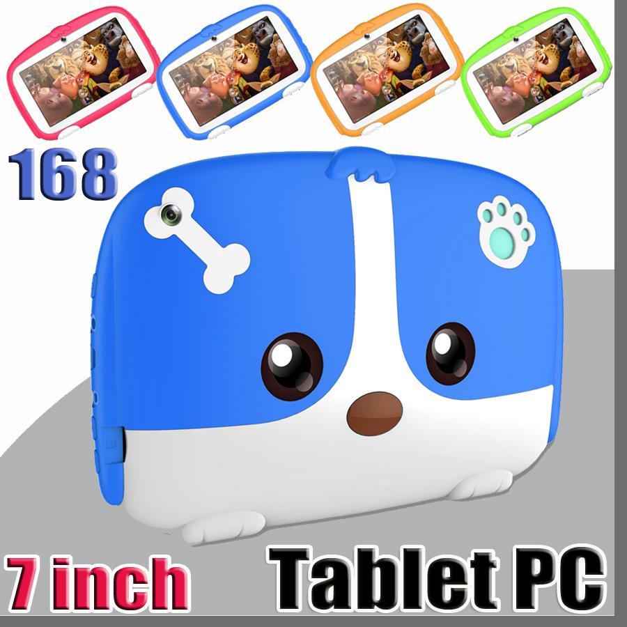 """168 키즈 브랜드 태블릿 PC 7 """"7 인치 쿼드 코어 어린이 귀여운 만화 개 태블릿 안드로이드 6.0 Allwinner A33 구글 플레이어 1기가바이트 RAM 8 기가 바이트 ROM"""