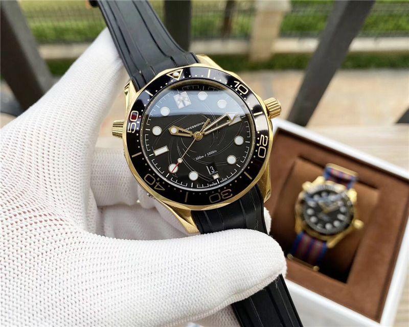 Dial Professional 300m preta dos homens Dropship Assista transparentes visíveis oca para relógios automáticos por Homens Rubber Nylon Couro Strap