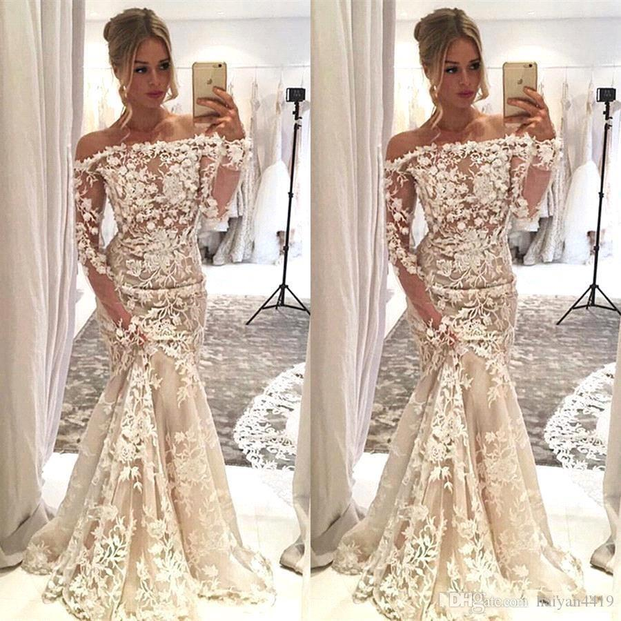 2020 New Hot Sexy Mermaid Wedding Dresses African Off Shoulder Lace 3D Appliques Long Sleeves Illusion Plus Size Sweep Train Bridal Gowns