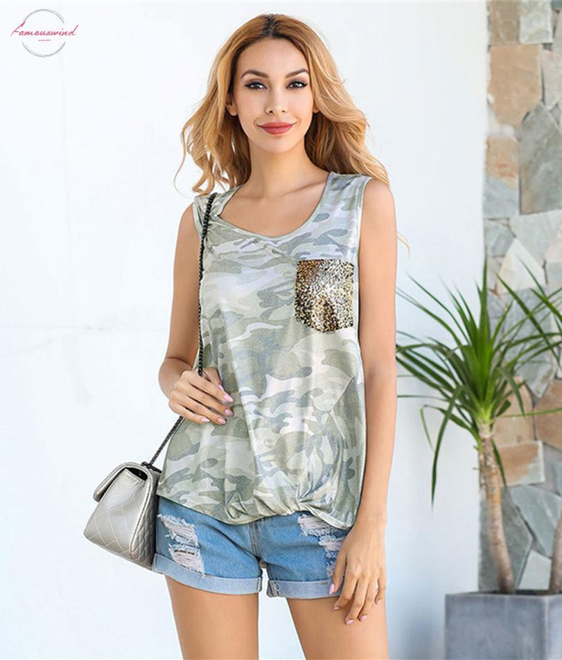Sequined Pocket Tank Top Summer Sleeveless Top Women Camouflage Tanks 2020 New Flowers Tee Female Tie Tank Top Lady Camis