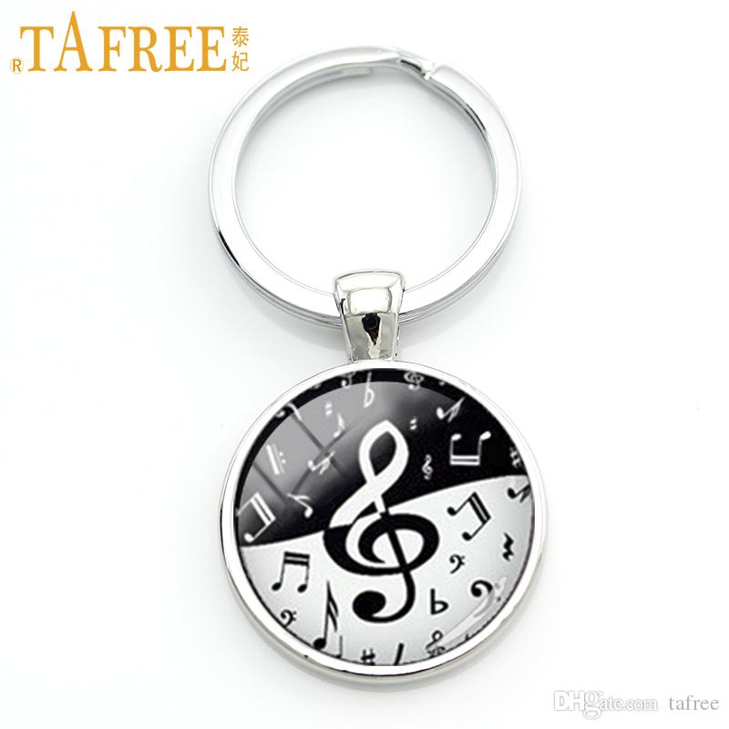 TAFREE Stylish treble clef wave key chain creative yin yang black white musical notes keychain musician music fans jewelry KC610