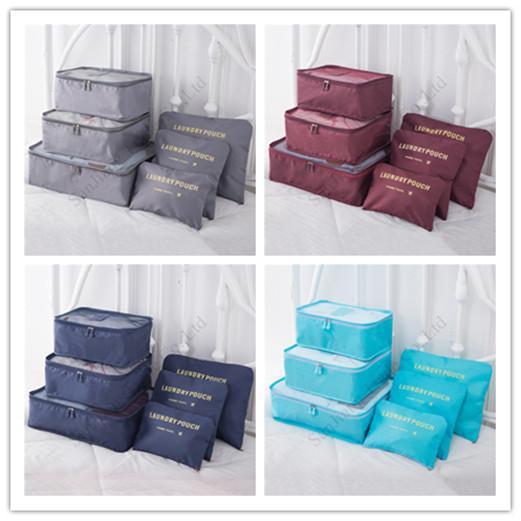 8 Colors Travel Makeup Bag 6 Pcs Sets Waterproof Travel Storage Cloth Sorting Bag Sets Bra Underwear Luggage Organizers Storage Bags E11304