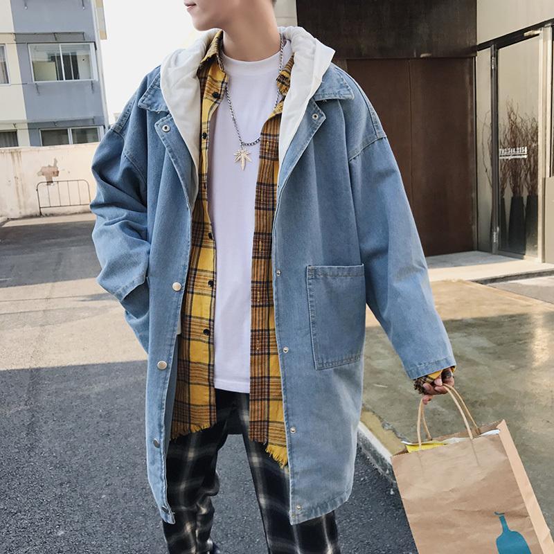 Spring Men Denim Abnehmbare Kapuze Windbreaker Men Hip Hop Streetwear Bomberjacke Male Oversized Jeans Baggy Coat D100605