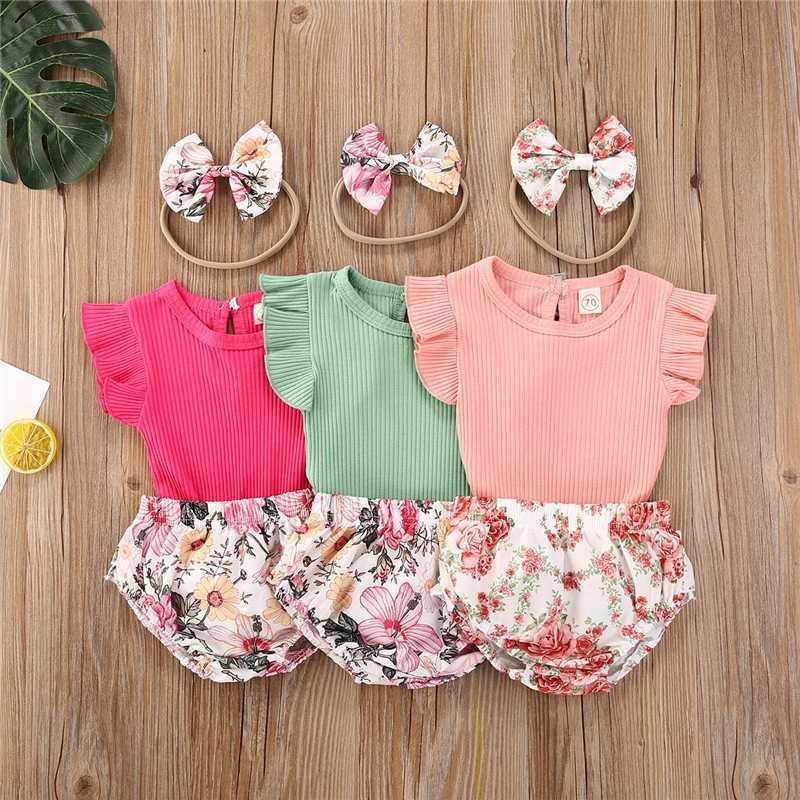 2020-Sommer-Kleidung Säuglingsbaby-Kleidung Kurzarmshirts T-Shirt + Blumenkurzschluss-Hosen + Stirnband Outfits 0-24M