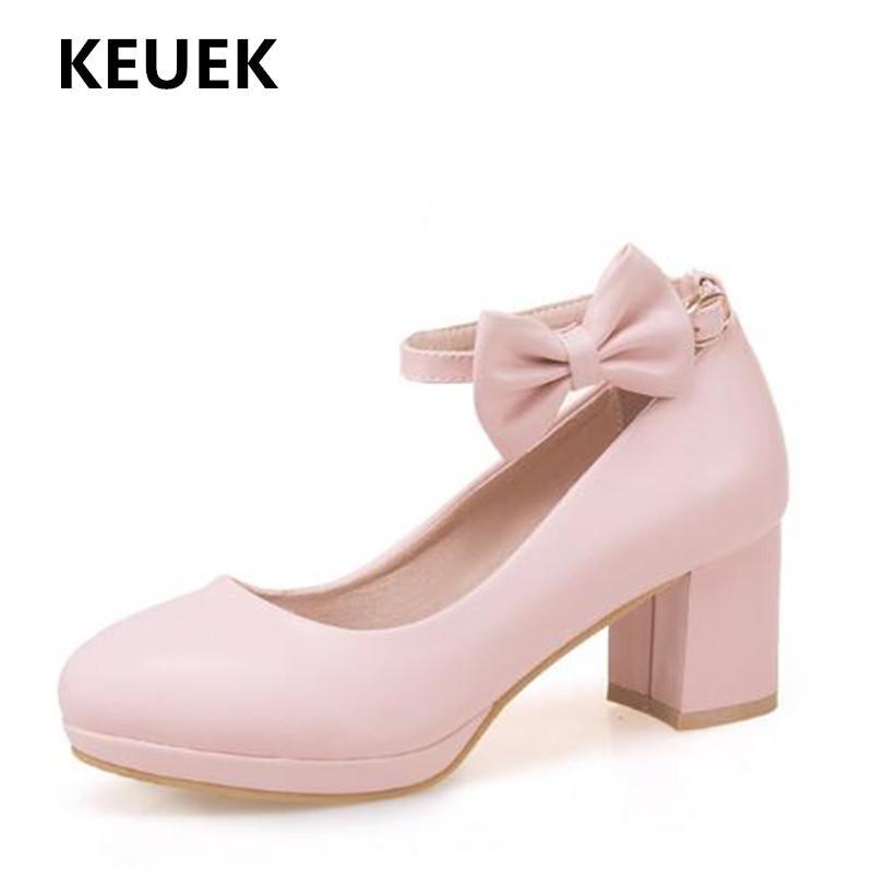 New Children Bow High Heels Girls Shoes