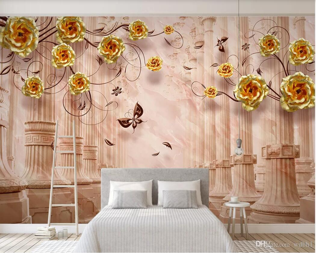 3d Room Wallpaper Custom Photo Mural Floral Roman Column Fantasy