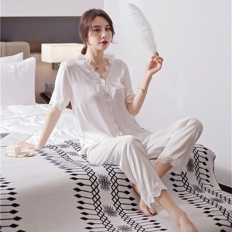 Home Anzug Pyjama Sleeve Sets Satin Pyjamas FDFKLAK SCHWEHLER SILK KURZ Mode Pyjama für Mädchen Nachtwäsche Frauen Schwarz / Weiß XKWMF