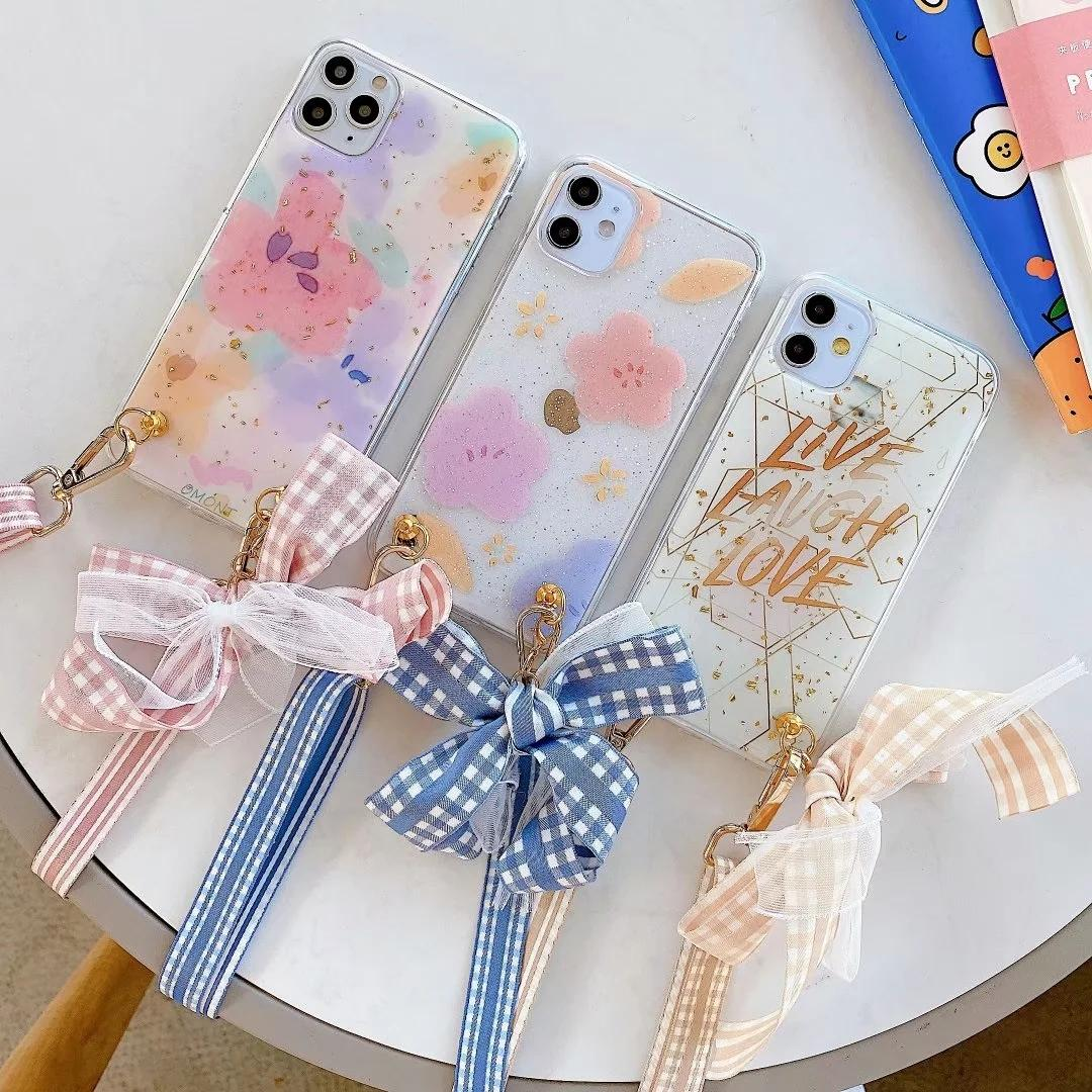 Summer Soft TPU Case For Iphone 11 Pro XR XS MAX X 8 7 6 Luxury Flower Bling Bowknot Glitter Sequin Confetti Girl Bow Cover+Shoulder Lanyard