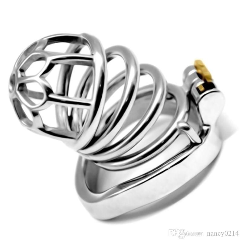 2019 Newest Hollow Male Chastity Device Cock Cage Metal Penis Rings Removable Chastity Cage Sex Toys for Men G7-1-265A