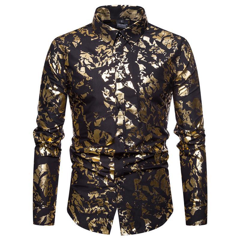 الفاخرة الذهب احباط طباعة قميص الرجال 2018 جديد عارضة الرجال اللباس قمصان الزفاف سهرة قميص الذكور مرحلة المغني ارتداء قميص قمم Y190506