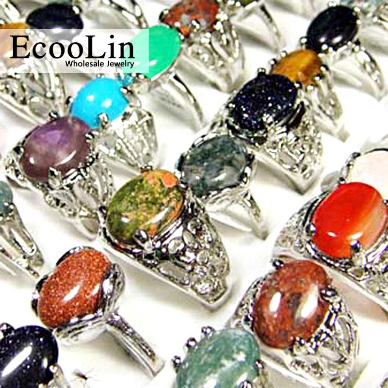 15pcs Pedra Natural Mulheres Anéis Misto Estilo Retro atacado jóias anel de Lotes LR020