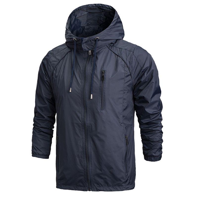 Hombres Ropa de deporte fina chaqueta rompevientos primavera otoño con capucha de la cremallera Outwear chaquetas masculino protector solar Coats jaqueta