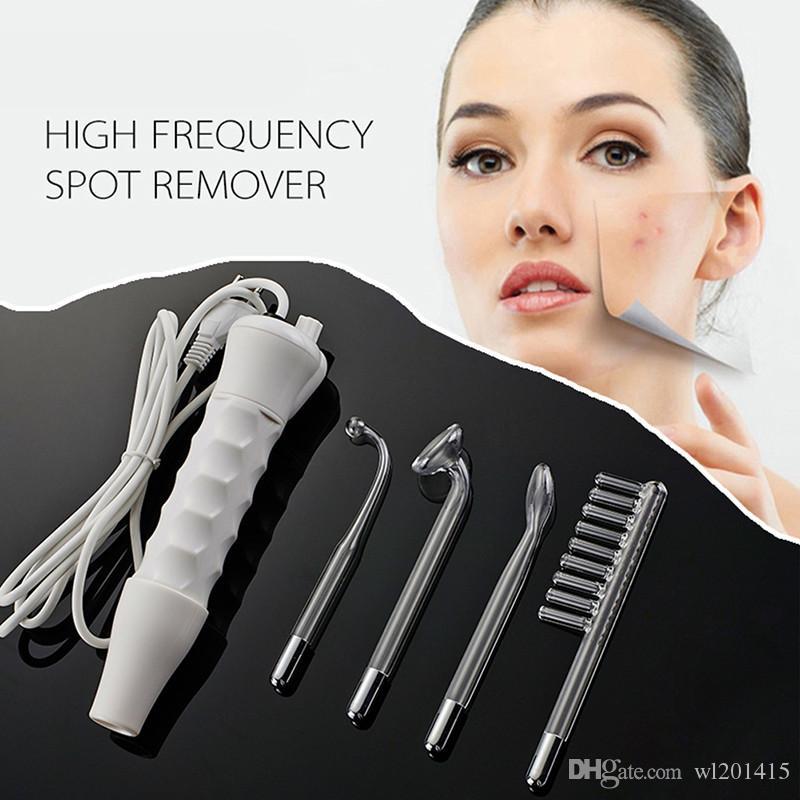 4 in 1 Hochfrequenz Fleckenentferner Gesicht Haar Körper Hautpflege Spa Salon Akne Therapiegerät mit 4 Stück Glasrohr