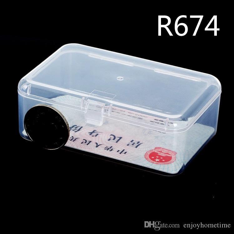 Mini rectángulo de plástico transparente Claro Colección de joyería collar contenedor de almacenamiento caja de la caja del sostenedor del organizador del arte envío