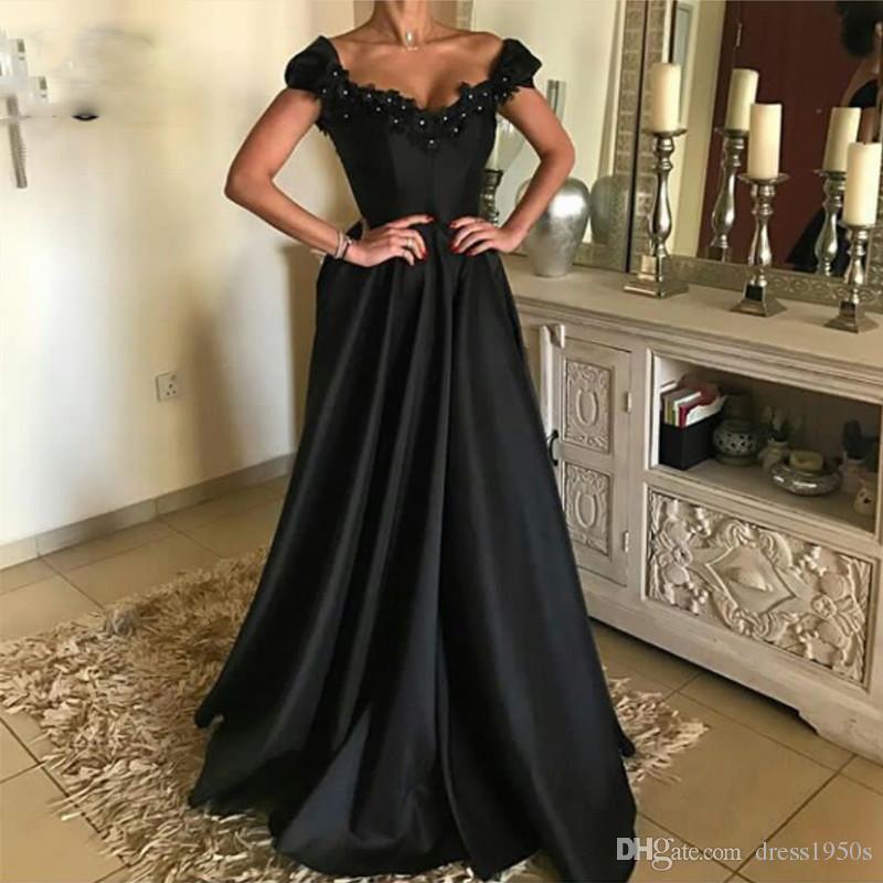 Una línea de V-cuello mangas del casquillo de negros vestidos de noche con Appliques al hombro vestidos del partido del satén elegante larga para las mujeres