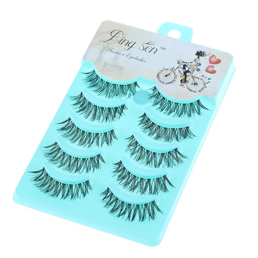 New 5 Pairs Natural Soft Eye Lashes Makeup Handmade Thick Fake False Eyelashes Cross Women Fashion False Eyelashes