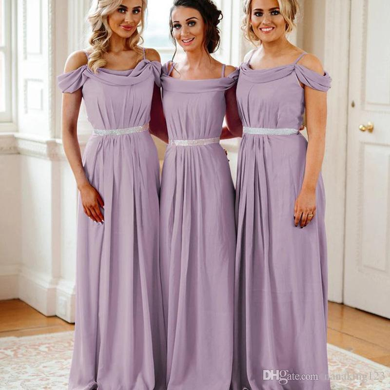 Country Purple Plus Size Bridesmaid Dresses A Line Spaghetti Straps Chiffon Maid of Honor Dress Party Gowns Wedding Guest Dress with Sashes